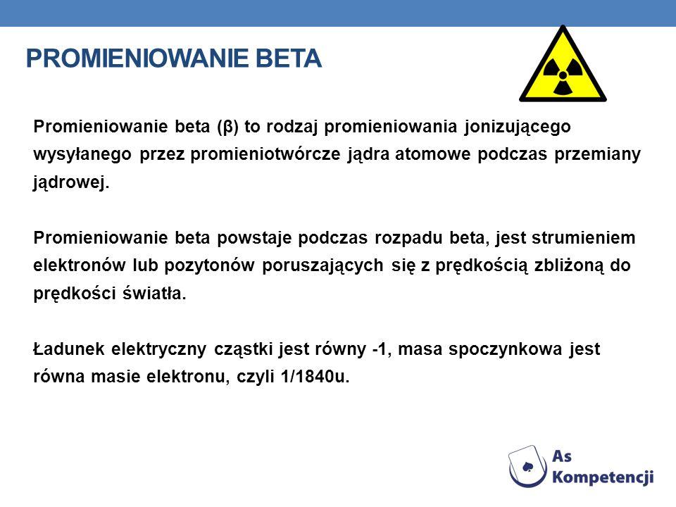 PROMIENIOWANIE BETA Promieniowanie beta (β) to rodzaj promieniowania jonizującego wysyłanego przez promieniotwórcze jądra atomowe podczas przemiany ją