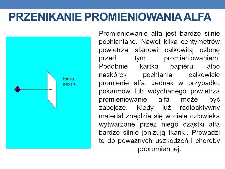 PRZENIKANIE PROMIENIOWANIA ALFA Promieniowanie alfa jest bardzo silnie pochłaniane. Nawet kilka centymetrów powietrza stanowi całkowitą osłonę przed t