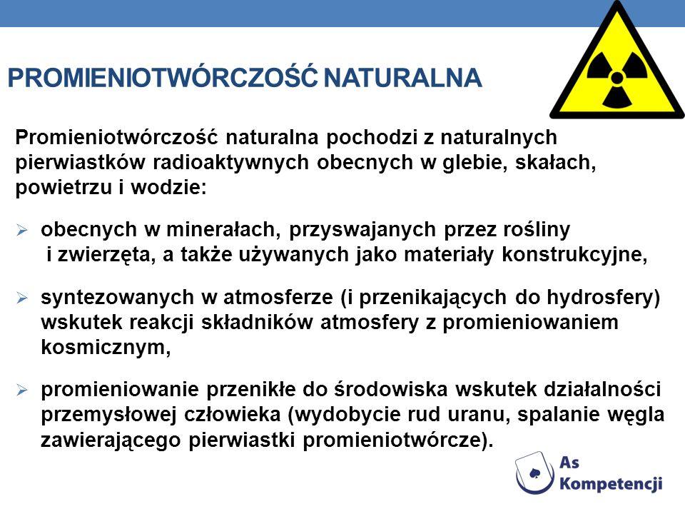 PROMIENIOTWÓRCZOŚĆ NATURALNA Promieniotwórczość naturalna pochodzi z naturalnych pierwiastków radioaktywnych obecnych w glebie, skałach, powietrzu i w