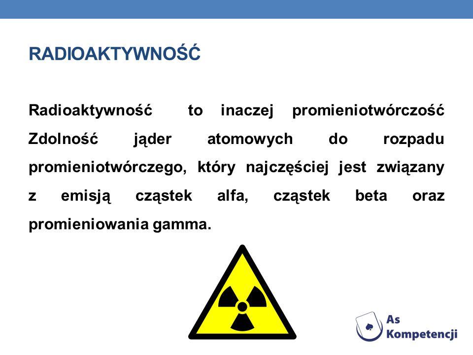 RADIOAKTYWNOŚĆ Radioaktywność to inaczej promieniotwórczość Zdolność jąder atomowych do rozpadu promieniotwórczego, który najczęściej jest związany z