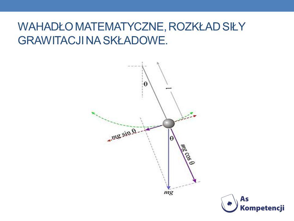 ANALIZA RUCHU WAHADŁA W wahadle matematycznym poruszające się ciało jest punktem materialnym, zawieszonym na nieważkiej, nierozciągliwej nici o długości l.