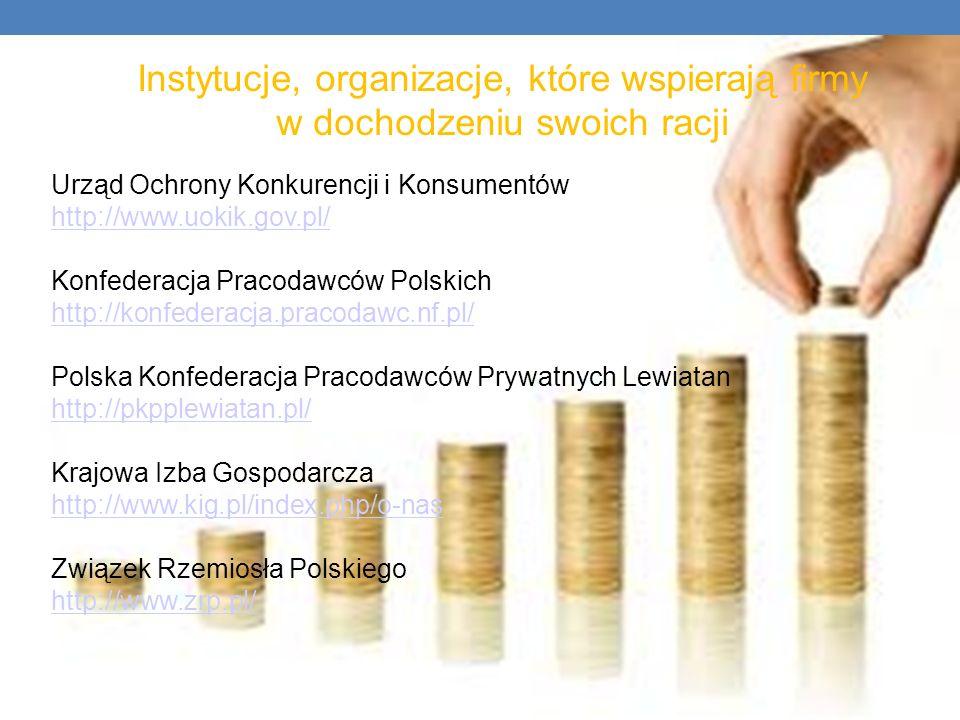 Instytucje, organizacje, które wspierają firmy w dochodzeniu swoich racji Urząd Ochrony Konkurencji i Konsumentów http://www.uokik.gov.pl/ http://www.