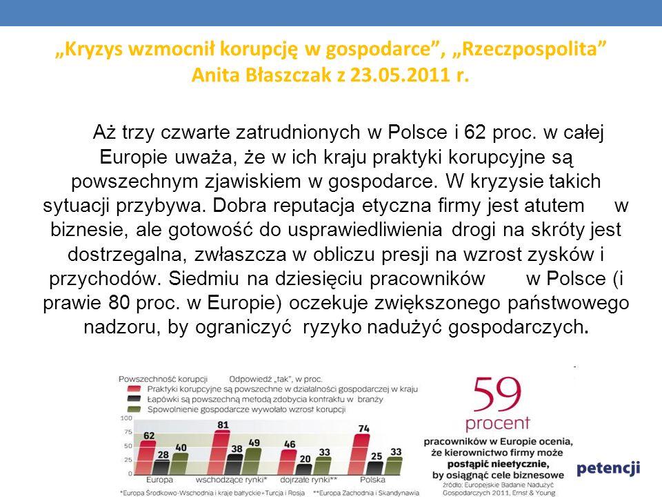 Kryzys wzmocnił korupcję w gospodarce, Rzeczpospolita Anita Błaszczak z 23.05.2011 r. Aż trzy czwarte zatrudnionych w Polsce i 62 proc. w całej Europi
