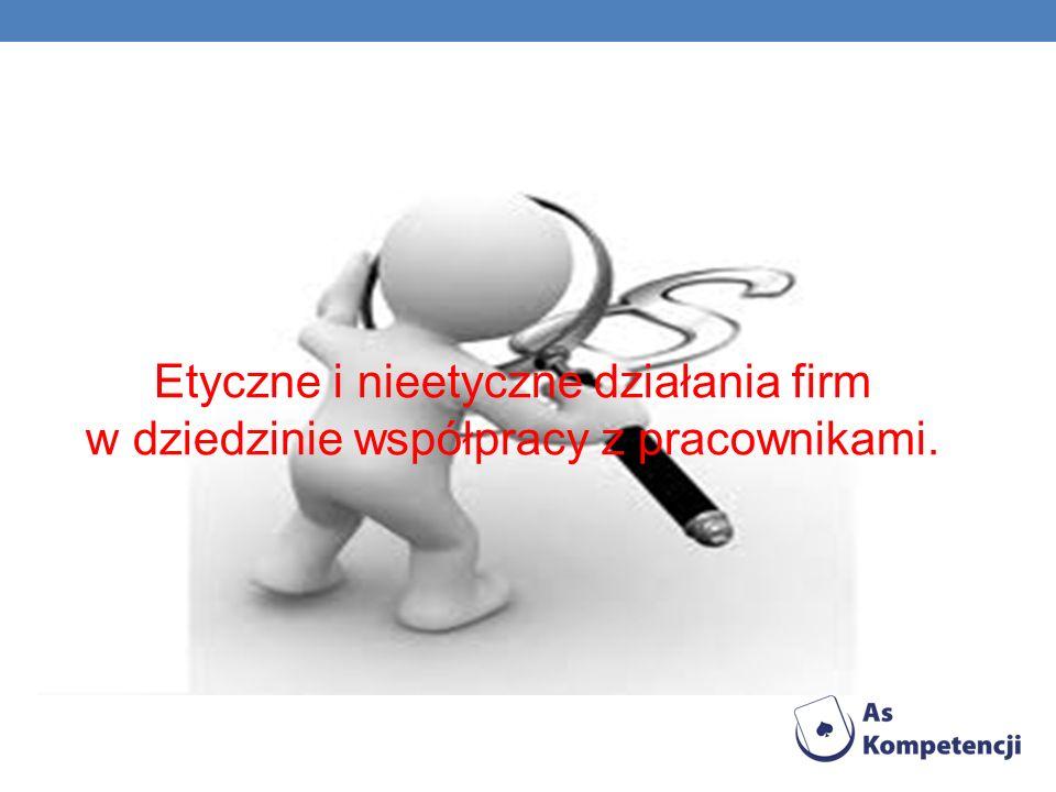 Etyczne i nieetyczne działania firm w dziedzinie współpracy z pracownikami.