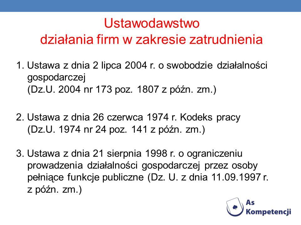 Ustawodawstwo działania firm w zakresie zatrudnienia 1. Ustawa z dnia 2 lipca 2004 r. o swobodzie działalności gospodarczej (Dz.U. 2004 nr 173 poz. 18