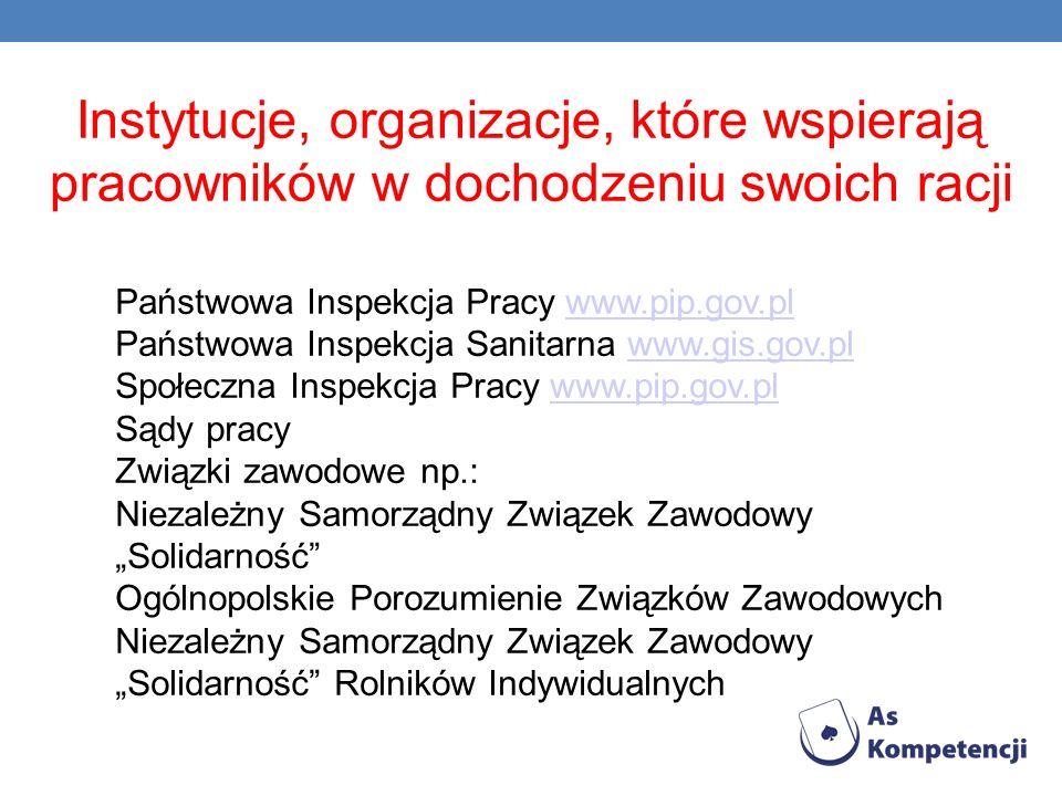 Instytucje, organizacje, które wspierają pracowników w dochodzeniu swoich racji Państwowa Inspekcja Pracy www.pip.gov.plwww.pip.gov.pl Państwowa Inspe