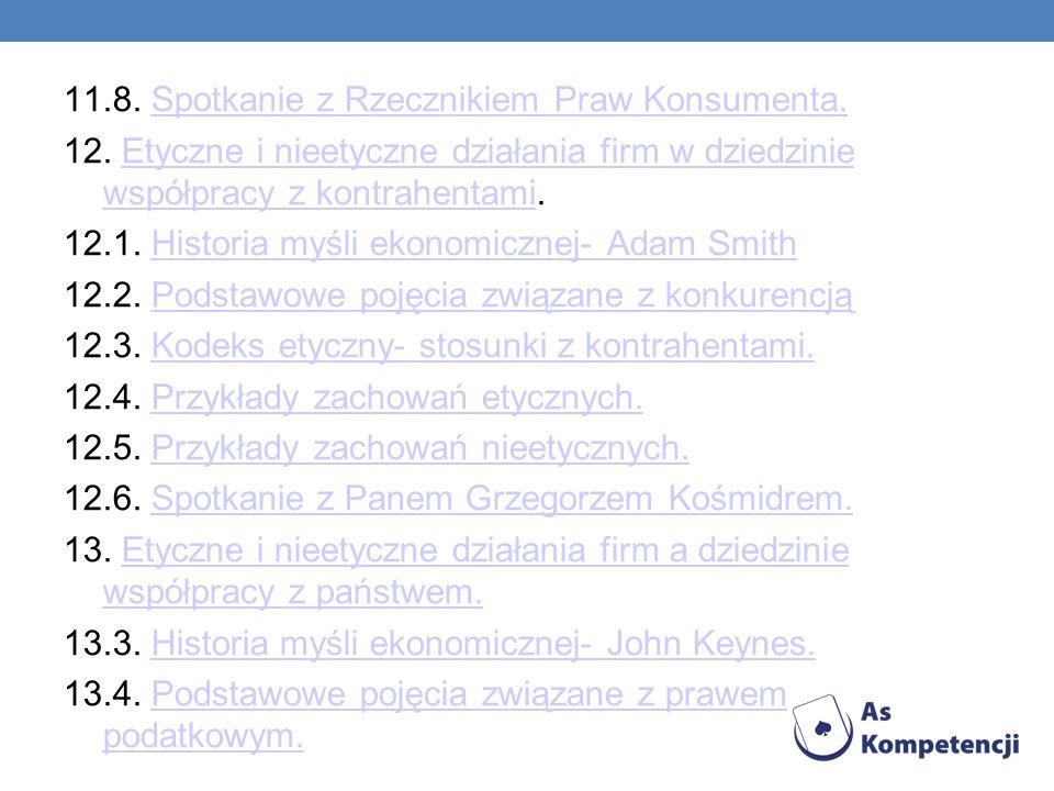 11.8. Spotkanie z Rzecznikiem Praw Konsumenta.Spotkanie z Rzecznikiem Praw Konsumenta. 12. Etyczne i nieetyczne działania firm w dziedzinie współpracy