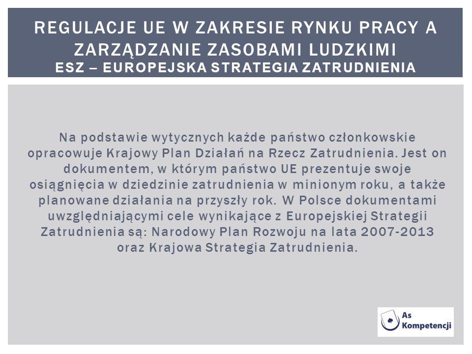 Na podstawie wytycznych każde państwo członkowskie opracowuje Krajowy Plan Działań na Rzecz Zatrudnienia. Jest on dokumentem, w którym państwo UE prez