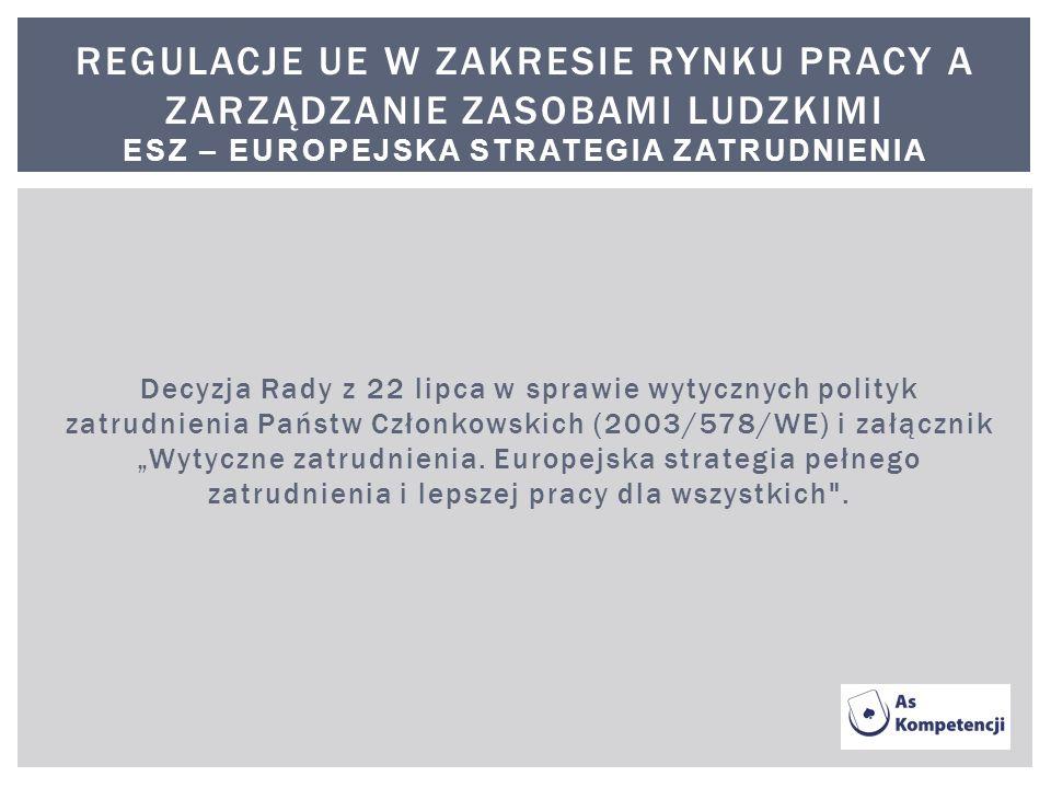 Decyzja Rady z 22 lipca w sprawie wytycznych polityk zatrudnienia Państw Członkowskich (2003/578/WE) i załącznik Wytyczne zatrudnienia. Europejska str