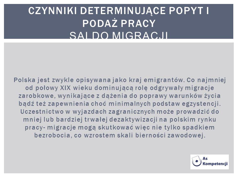 Polska jest zwykle opisywana jako kraj emigrantów. Co najmniej od połowy XIX wieku dominującą rolę odgrywały migracje zarobkowe, wynikające z dążenia