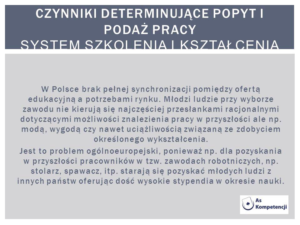 W Polsce brak pełnej synchronizacji pomiędzy ofertą edukacyjną a potrzebami rynku. Młodzi ludzie przy wyborze zawodu nie kierują się najczęściej przes