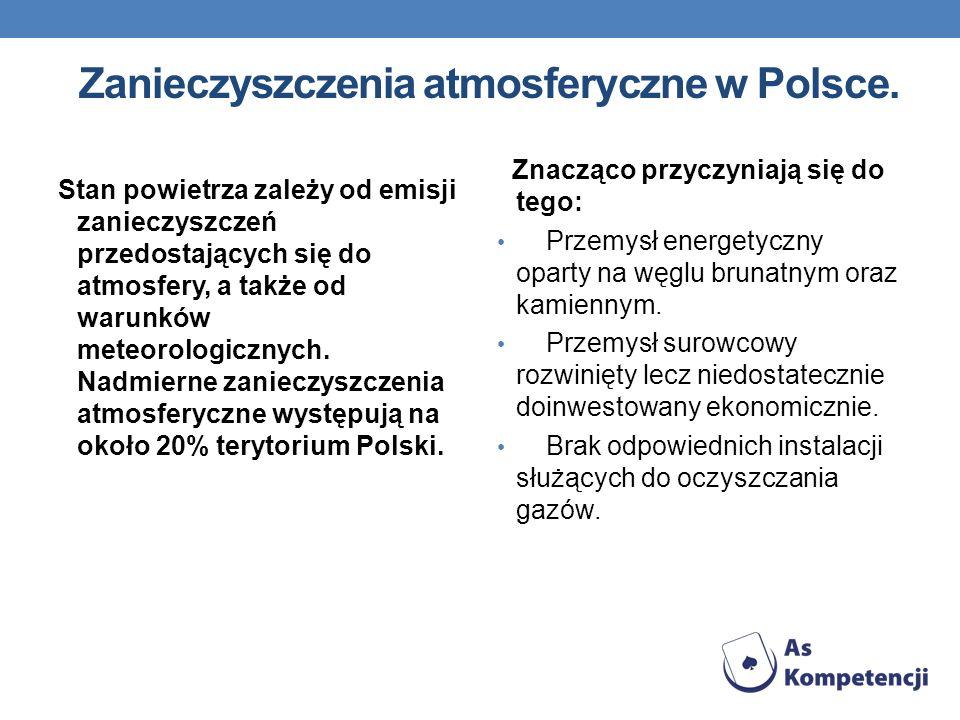 Zanieczyszczenia atmosferyczne w Polsce. Stan powietrza zależy od emisji zanieczyszczeń przedostających się do atmosfery, a także od warunków meteorol