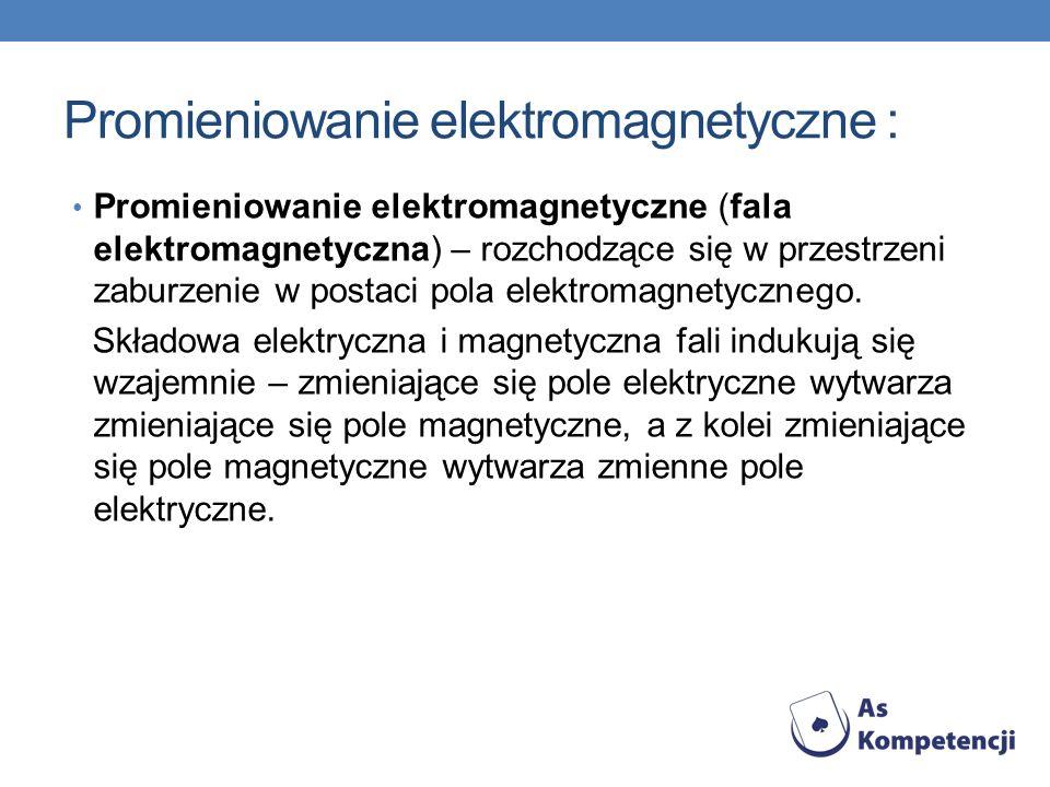 Promieniowanie elektromagnetyczne : Promieniowanie elektromagnetyczne (fala elektromagnetyczna) – rozchodzące się w przestrzeni zaburzenie w postaci p