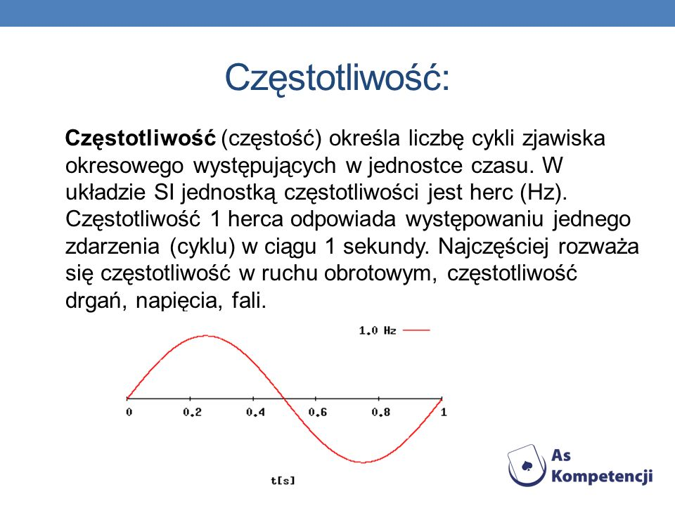Częstotliwość: Częstotliwość (częstość) określa liczbę cykli zjawiska okresowego występujących w jednostce czasu. W układzie SI jednostką częstotliwoś
