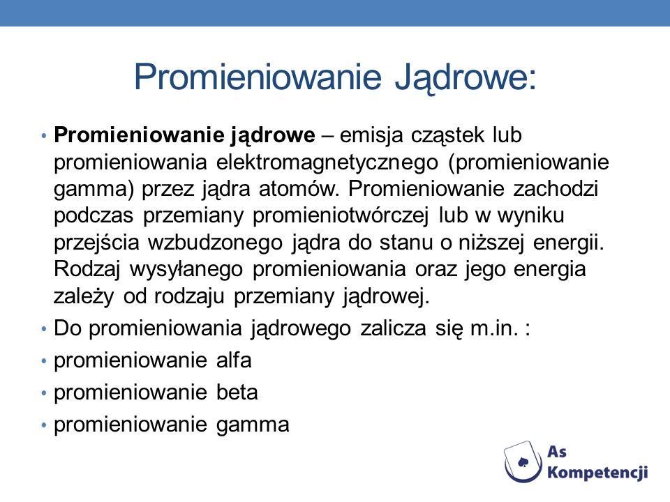 Promieniowanie Jądrowe: Promieniowanie jądrowe – emisja cząstek lub promieniowania elektromagnetycznego (promieniowanie gamma) przez jądra atomów. Pro