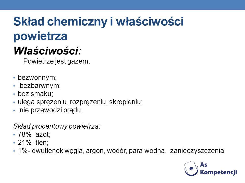 Skład chemiczny i właściwości powietrza Właściwości: Powietrze jest gazem: bezwonnym; bezbarwnym; bez smaku; ulega sprężeniu, rozprężeniu, skropleniu;