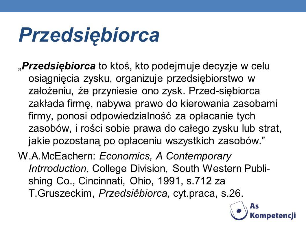 Do funkcji przedsiębiorcy wg Z.Łaskiego zaliczyć należy: planowanie i realizację produkcji, inicjatywę majątkowo-inwestycyjną, organizowanie, inicjatywę w dziedzinie polityki zatrudnienia i płac, zaopatrzenie, zbyt, kontrolę działalności przedsiębiorstwa, odpowiedzialność prawno-majątkową.