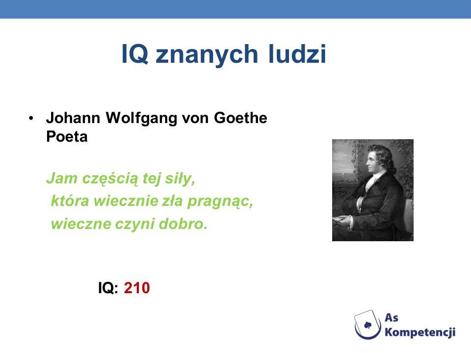 IQ znanych ludzi Johann Wolfgang von Goethe Poeta Jam częścią tej siły, która wiecznie zła pragnąc, wieczne czyni dobro. IQ: 210