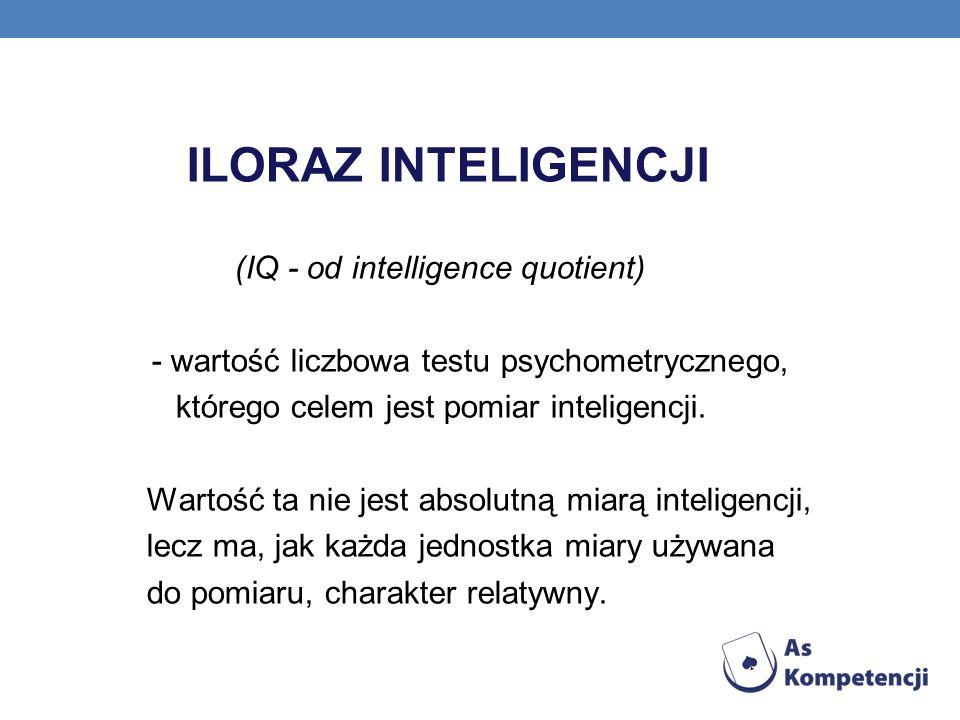 ILORAZ INTELIGENCJI (IQ - od intelligence quotient) - wartość liczbowa testu psychometrycznego, którego celem jest pomiar inteligencji. Wartość ta nie