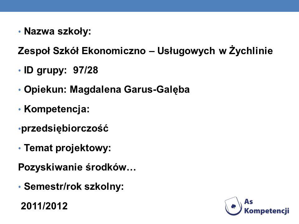 Nazwa szkoły: Zespoł Szkół Ekonomiczno – Usługowych w Żychlinie ID grupy: 97/28 Opiekun: Magdalena Garus-Galęba Kompetencja: przedsiębiorczość Temat projektowy: Pozyskiwanie środków… Semestr/rok szkolny: 2011/2012