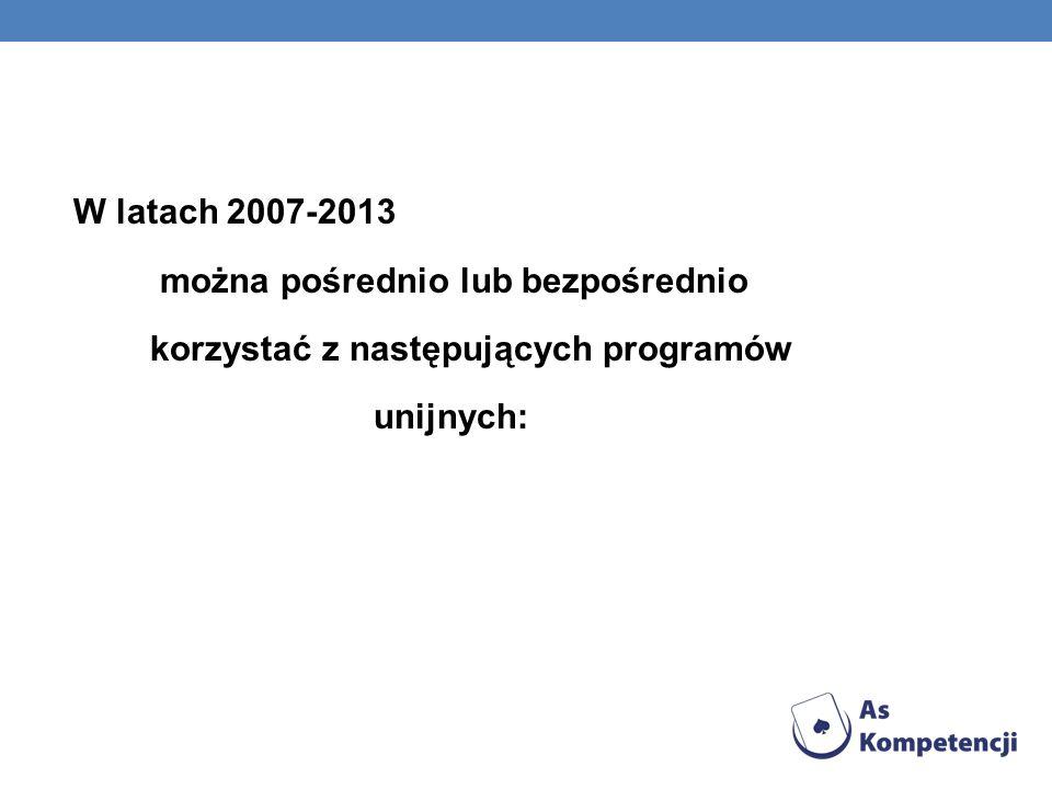 W latach 2007-2013 można pośrednio lub bezpośrednio korzystać z następujących programów unijnych: