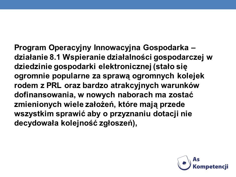 Program Operacyjny Innowacyjna Gospodarka – działanie 8.1 Wspieranie działalności gospodarczej w dziedzinie gospodarki elektronicznej (stało się ogrom