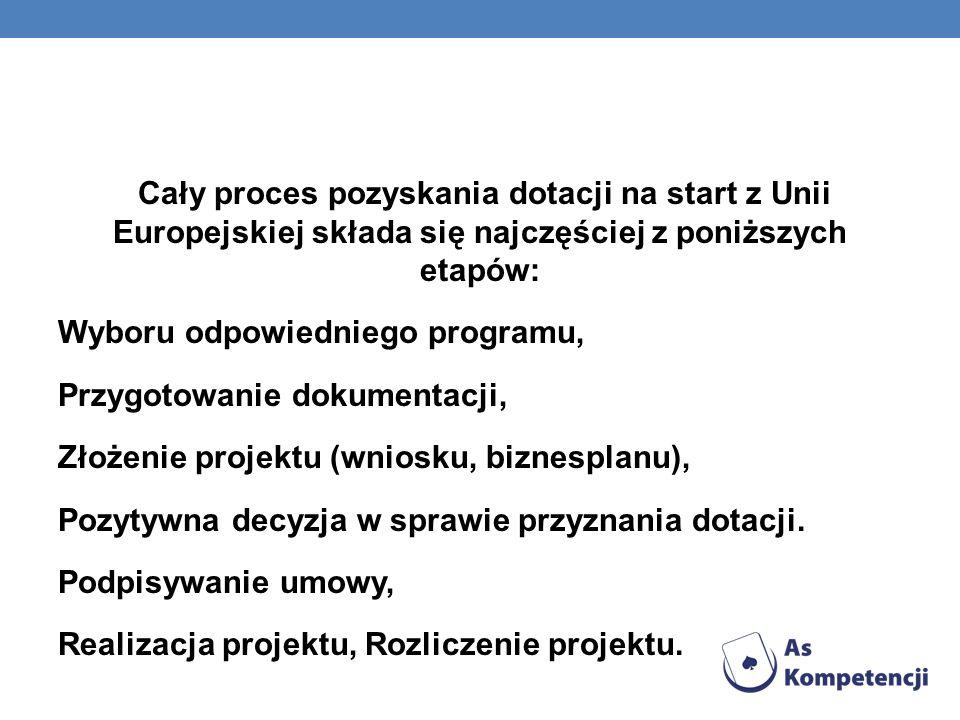 Cały proces pozyskania dotacji na start z Unii Europejskiej składa się najczęściej z poniższych etapów: Wyboru odpowiedniego programu, Przygotowanie dokumentacji, Złożenie projektu (wniosku, biznesplanu), Pozytywna decyzja w sprawie przyznania dotacji.