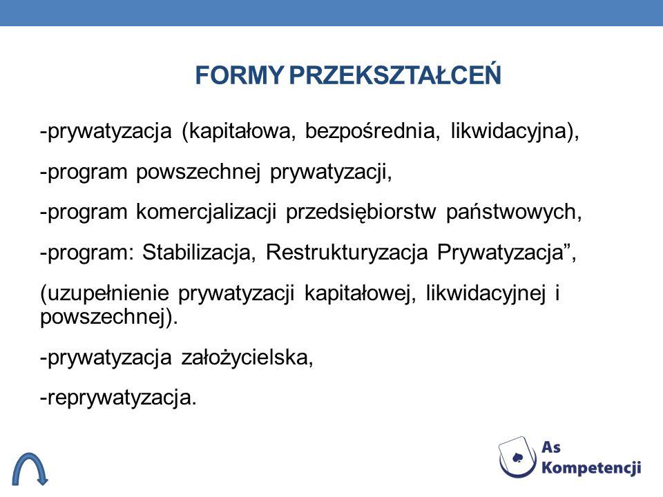 FORMY PRZEKSZTAŁCEŃ -prywatyzacja (kapitałowa, bezpośrednia, likwidacyjna), -program powszechnej prywatyzacji, -program komercjalizacji przedsiębiorst