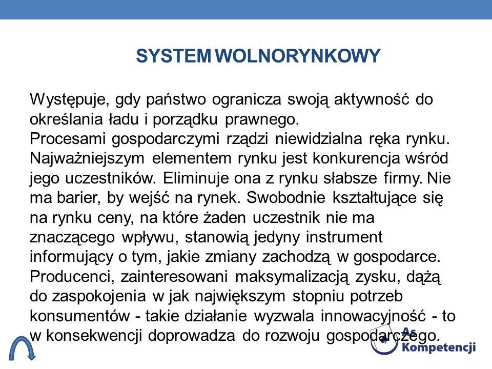 SYSTEM WOLNORYNKOWY Występuje, gdy państwo ogranicza swoją aktywność do określania ładu i porządku prawnego. Procesami gospodarczymi rządzi niewidzial