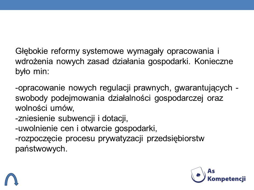 Głębokie reformy systemowe wymagały opracowania i wdrożenia nowych zasad działania gospodarki. Konieczne było min: -opracowanie nowych regulacji prawn