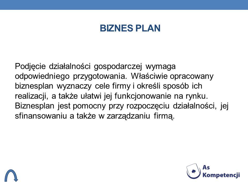 BIZNES PLAN Podjęcie działalności gospodarczej wymaga odpowiedniego przygotowania. Właściwie opracowany biznesplan wyznaczy cele firmy i określi sposó