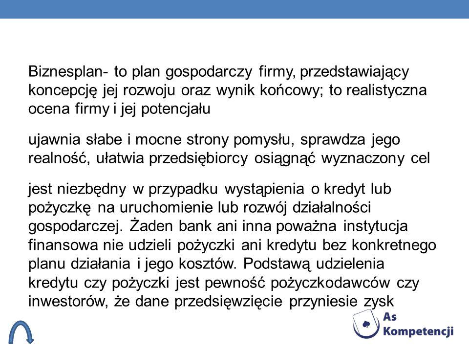 Biznesplan- to plan gospodarczy firmy, przedstawiający koncepcję jej rozwoju oraz wynik końcowy; to realistyczna ocena firmy i jej potencjału ujawnia