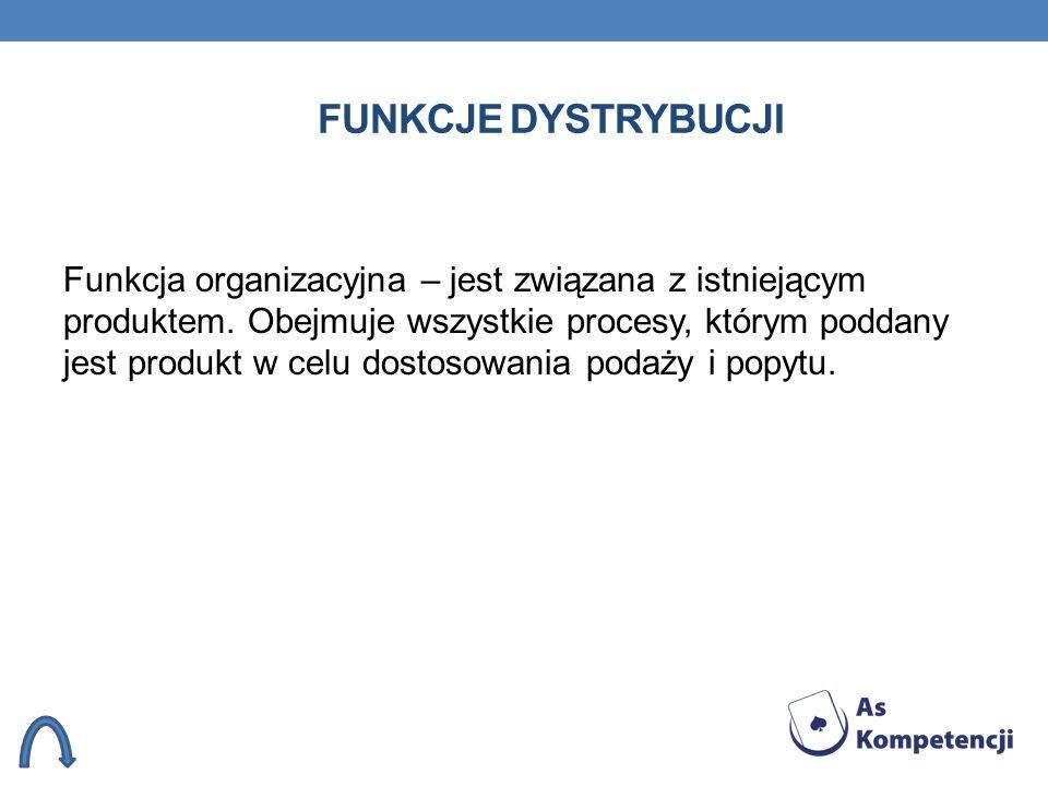 FUNKCJE DYSTRYBUCJI Funkcja organizacyjna – jest związana z istniejącym produktem. Obejmuje wszystkie procesy, którym poddany jest produkt w celu dost