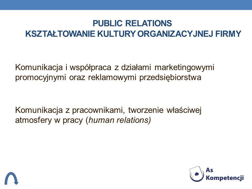 PUBLIC RELATIONS KSZTAŁTOWANIE KULTURY ORGANIZACYJNEJ FIRMY Komunikacja i współpraca z działami marketingowymi promocyjnymi oraz reklamowymi przedsięb