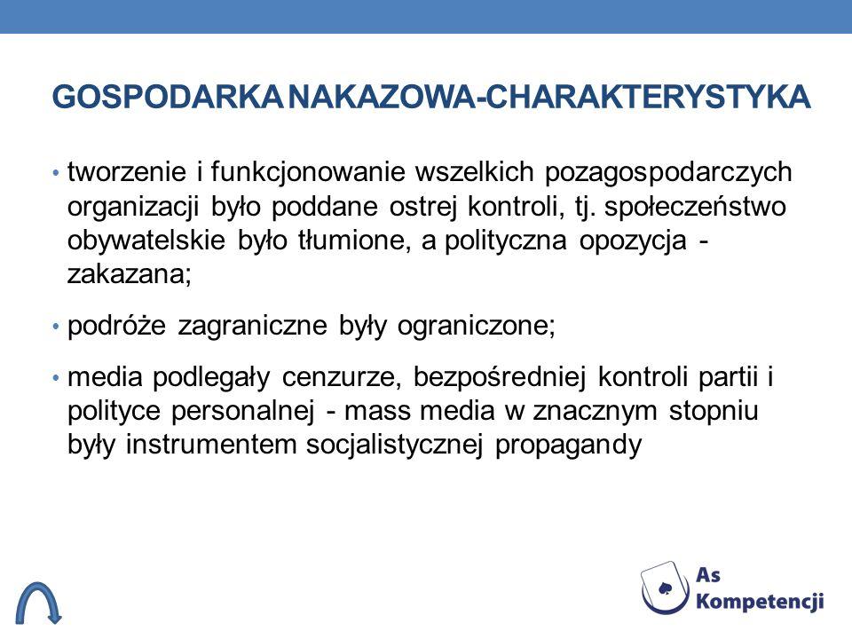 GOSPODARKA NAKAZOWA-CHARAKTERYSTYKA tworzenie i funkcjonowanie wszelkich pozagospodarczych organizacji było poddane ostrej kontroli, tj. społeczeństwo