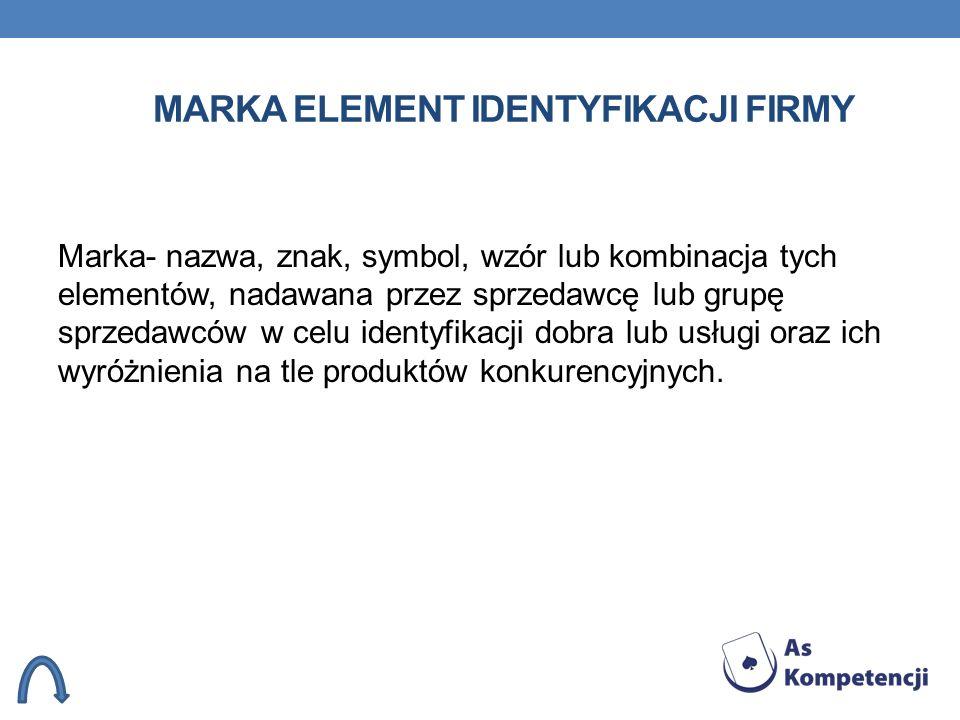 MARKA ELEMENT IDENTYFIKACJI FIRMY Marka- nazwa, znak, symbol, wzór lub kombinacja tych elementów, nadawana przez sprzedawcę lub grupę sprzedawców w ce