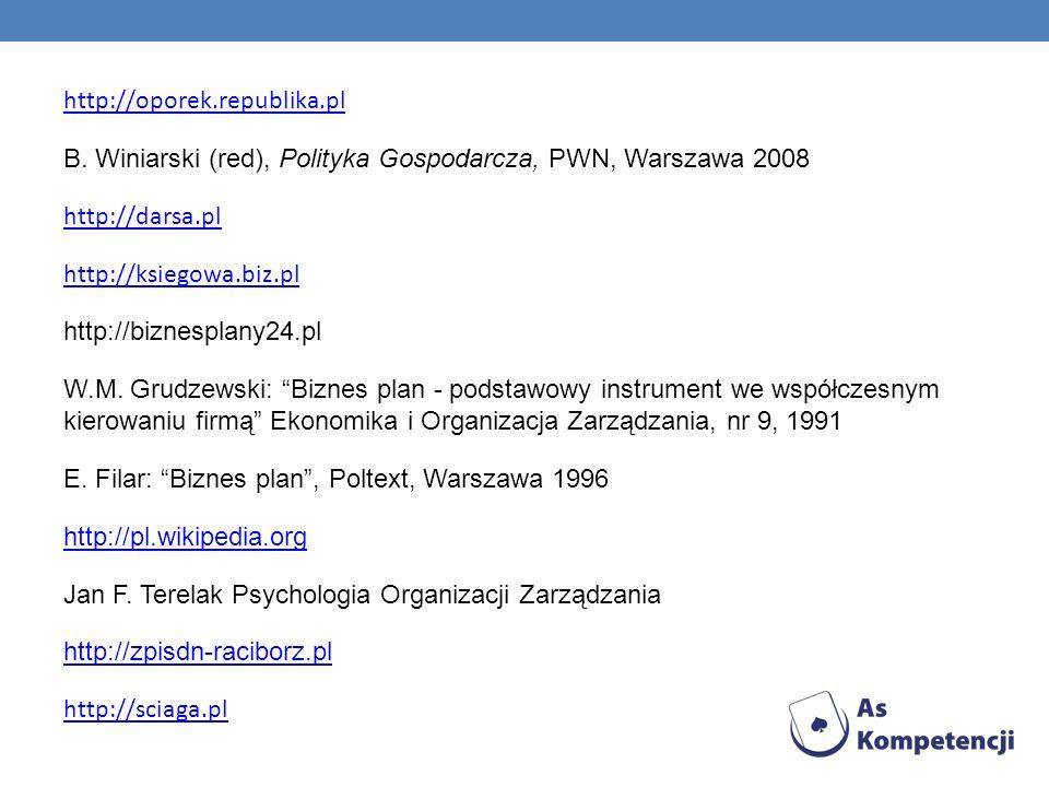 http://oporek.republika.pl B. Winiarski (red), Polityka Gospodarcza, PWN, Warszawa 2008 http://darsa.pl http://ksiegowa.biz.pl http://biznesplany24.pl