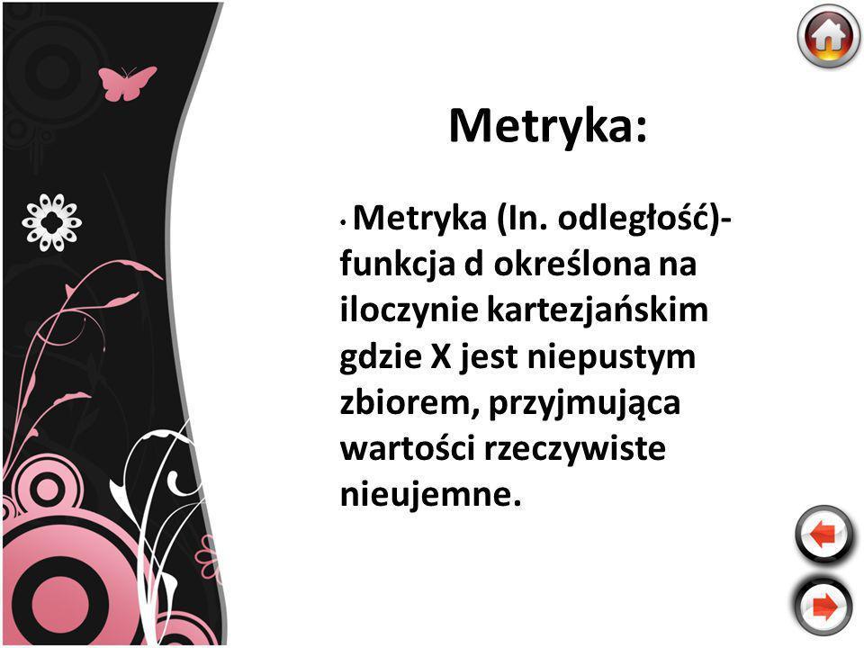 Metryka: Metryka (In. odległość)- funkcja d określona na iloczynie kartezjańskim gdzie X jest niepustym zbiorem, przyjmująca wartości rzeczywiste nieu
