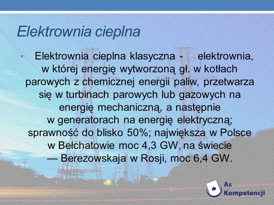 Elektrownie dzielą się na: - cieplne - słoneczne - wiatrowe - wodne - maretermiczne - atomowe