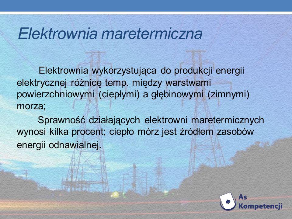 Elektrownia wodna Elektrownia, która przetwarza energię wód na energię elektryczną za pomocą turbin wodnych; przepływowa zbiornikowa pompowa pływowa W