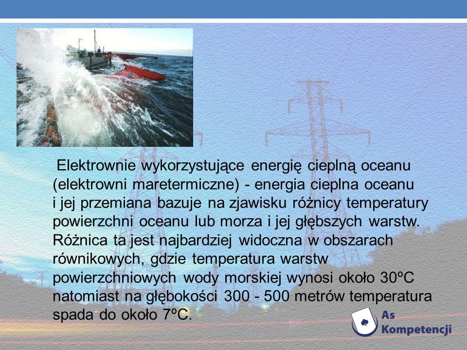 Elektrownia maretermiczna Elektrownia wykorzystująca do produkcji energii elektrycznej różnicę temp. między warstwami powierzchniowymi (ciepłymi) a gł