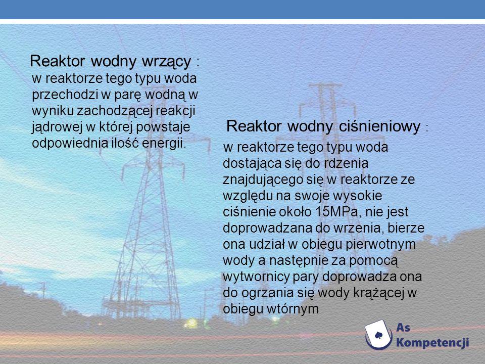 Wyróżniamy następujące reaktory jądrowe: Reaktor jednorodny - tego typu reaktor posiada rdzeń, który jest wypełniony wodnym roztworem danego pierwiast
