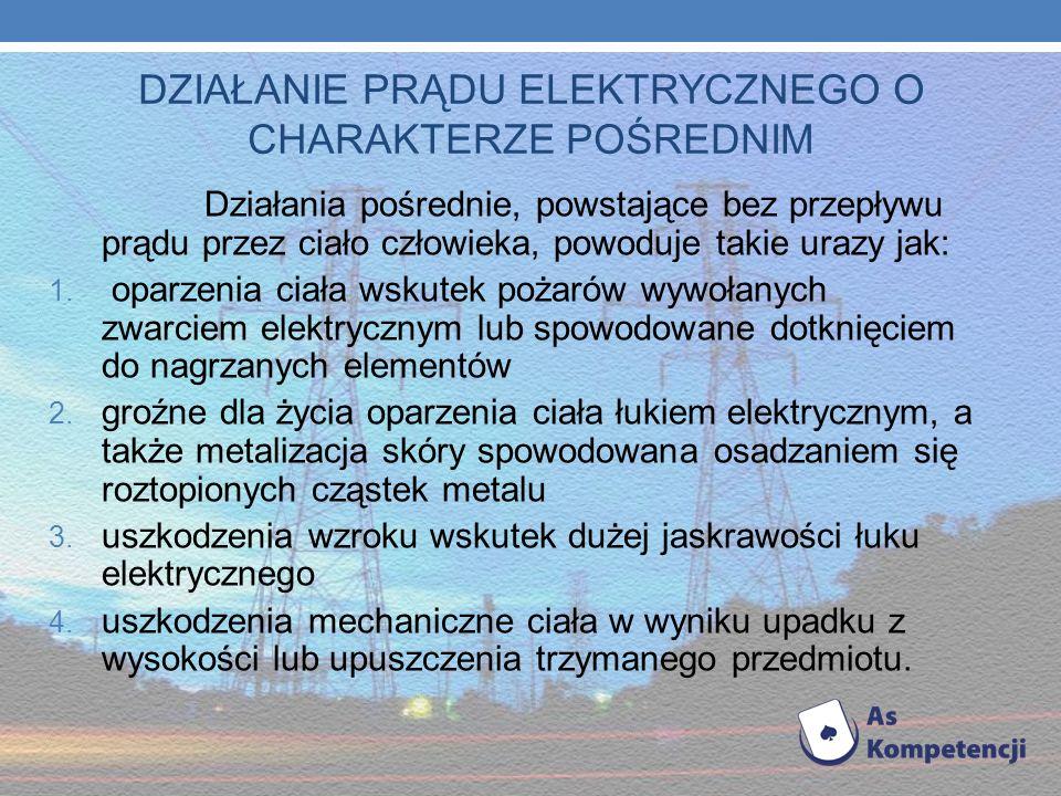 Działanie prądu elektrycznego Działanie prądu elektrycznego może mieć charakter pośredni lub bezpośredni. POŚREDNIE - powoduje różnego rodzaju urazy,