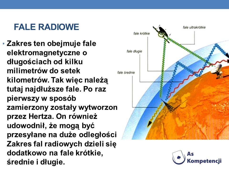FALE RADIOWE Zakres ten obejmuje fale elektromagnetyczne o długościach od kilku milimetrów do setek kilometrów. Tak więc należą tutaj najdłuższe fale.