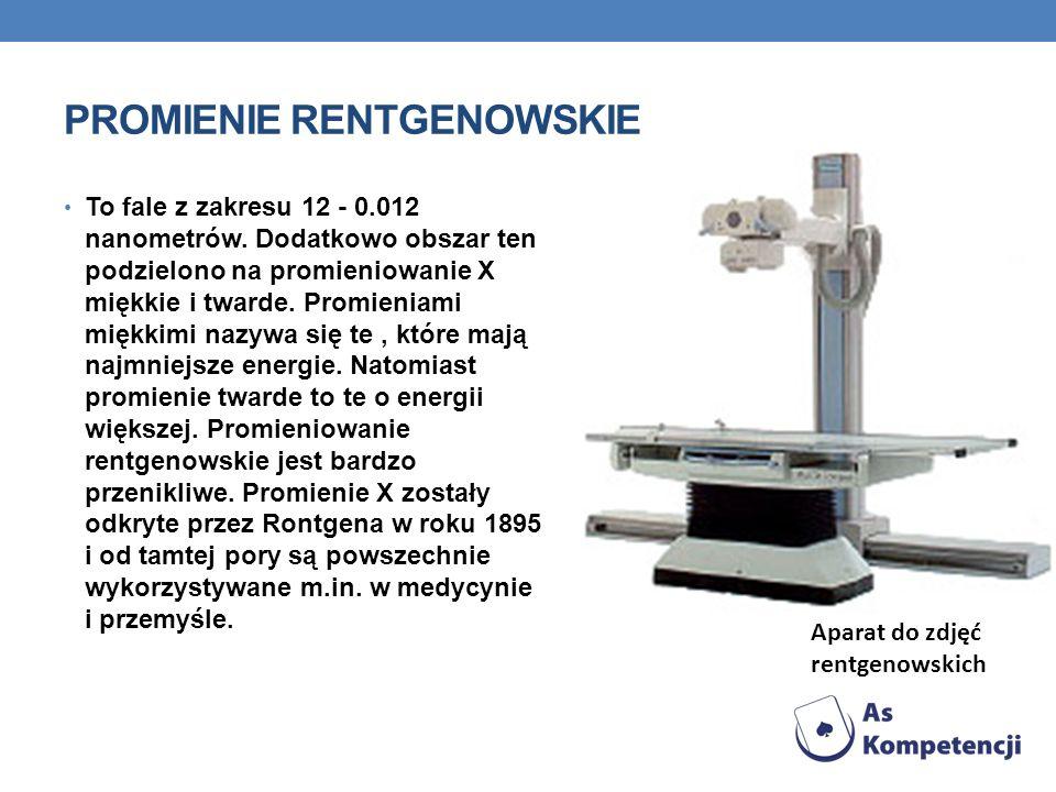 PROMIENIE RENTGENOWSKIE To fale z zakresu 12 - 0.012 nanometrów. Dodatkowo obszar ten podzielono na promieniowanie X miękkie i twarde. Promieniami mię