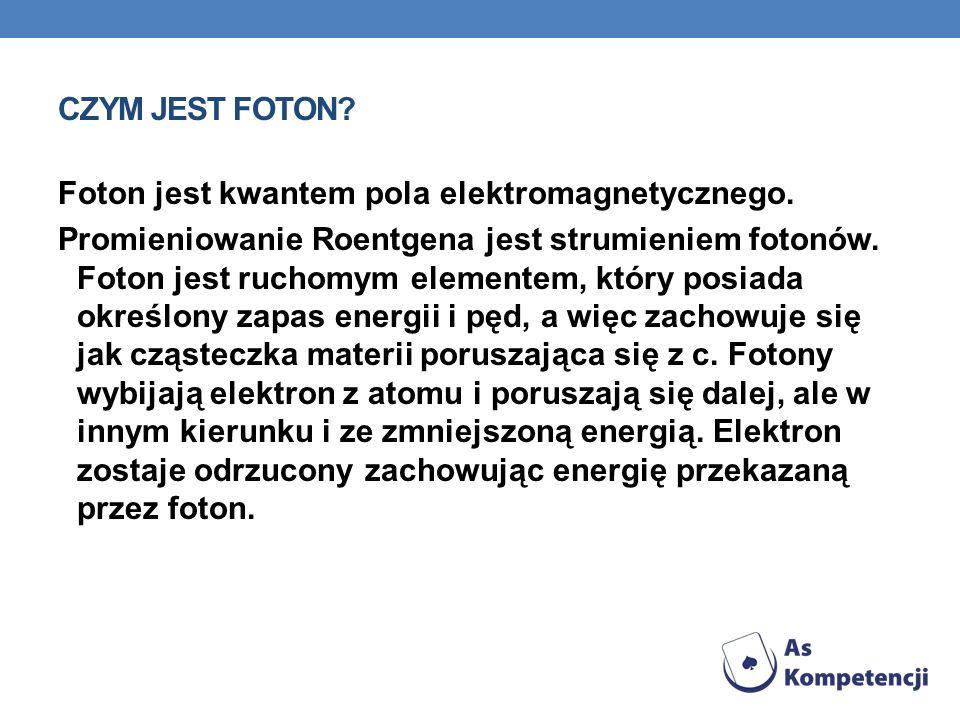 CZYM JEST FOTON? Foton jest kwantem pola elektromagnetycznego. Promieniowanie Roentgena jest strumieniem fotonów. Foton jest ruchomym elementem, który