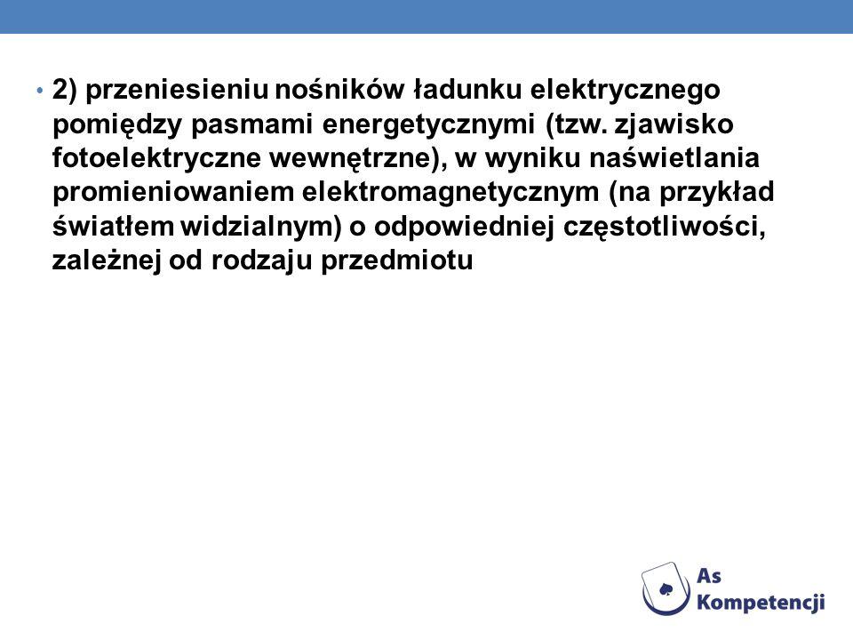 2) przeniesieniu nośników ładunku elektrycznego pomiędzy pasmami energetycznymi (tzw. zjawisko fotoelektryczne wewnętrzne), w wyniku naświetlania prom
