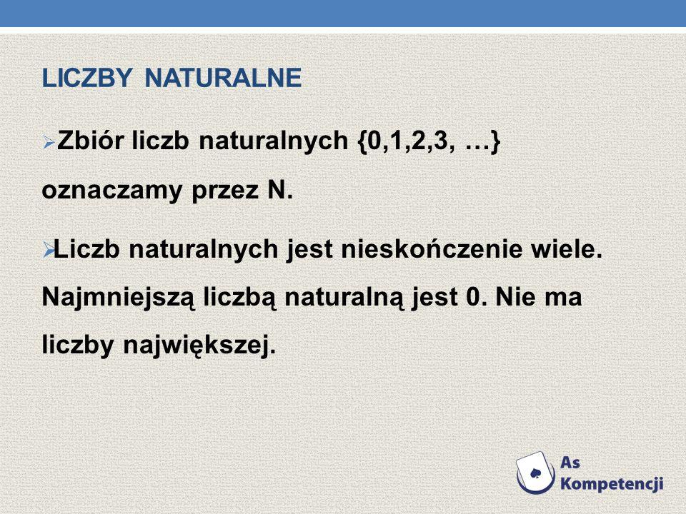 LICZBY NATURALNE Zbiór liczb naturalnych {0,1,2,3, …} oznaczamy przez N.