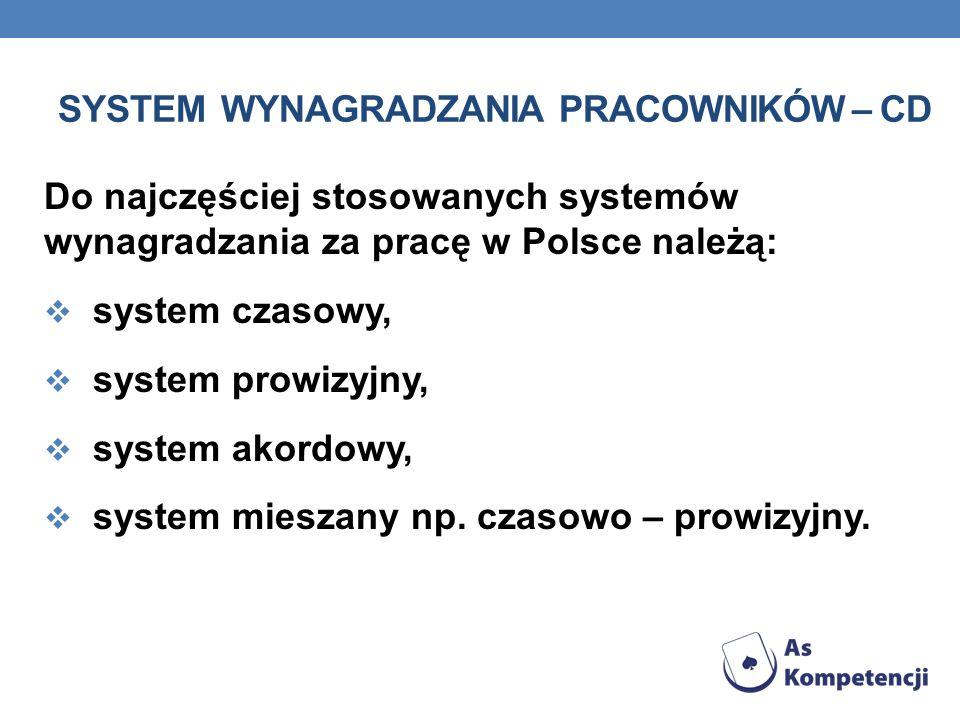 SYSTEM WYNAGRADZANIA PRACOWNIKÓW – CD Do najczęściej stosowanych systemów wynagradzania za pracę w Polsce należą: system czasowy, system prowizyjny, s