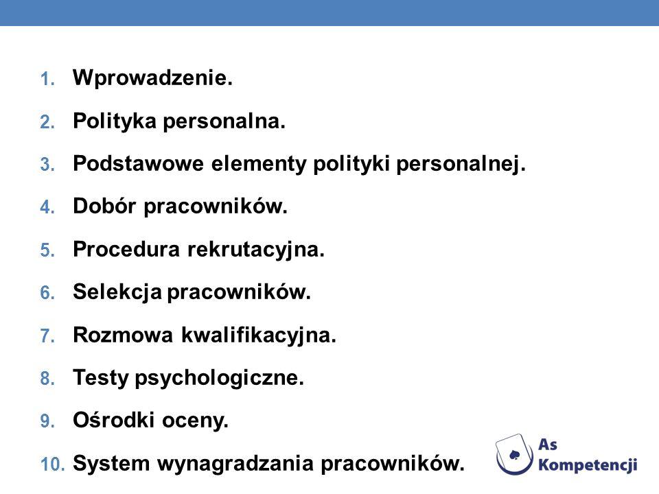 1. Wprowadzenie. 2. Polityka personalna. 3. Podstawowe elementy polityki personalnej. 4. Dobór pracowników. 5. Procedura rekrutacyjna. 6. Selekcja pra